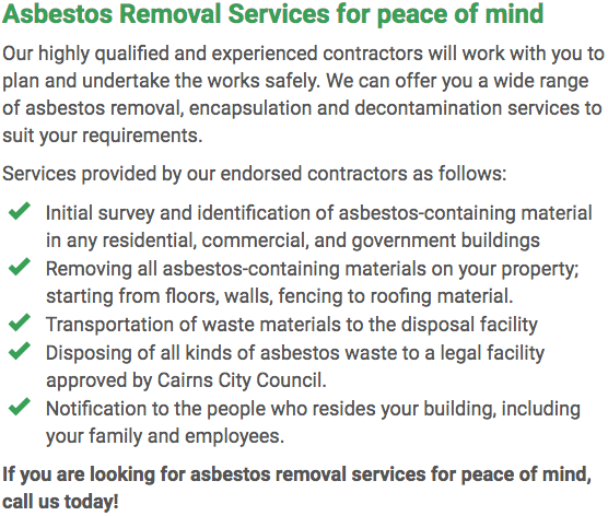 Asbestos Watch Cairns - removal right