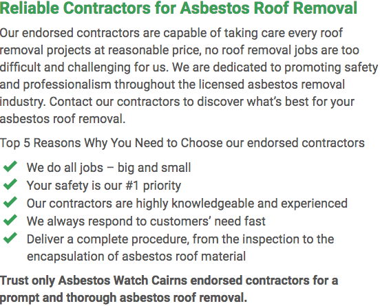Asbestos Watch Cairns - roof removal left