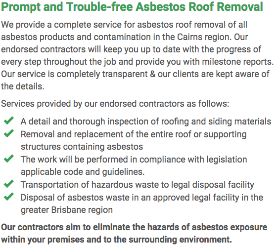 Asbestos Watch Cairns - roof removal right